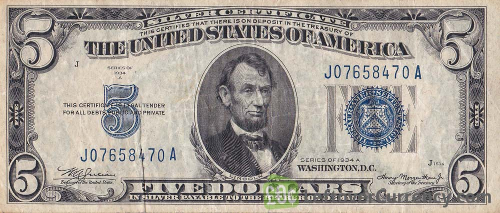 Five Dollars Silver Certificate blue seal obverse accepted for exchange