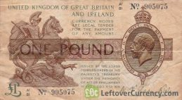 HM Treasury One Pound banknote (St George and dragon) obverse accepted for exchange