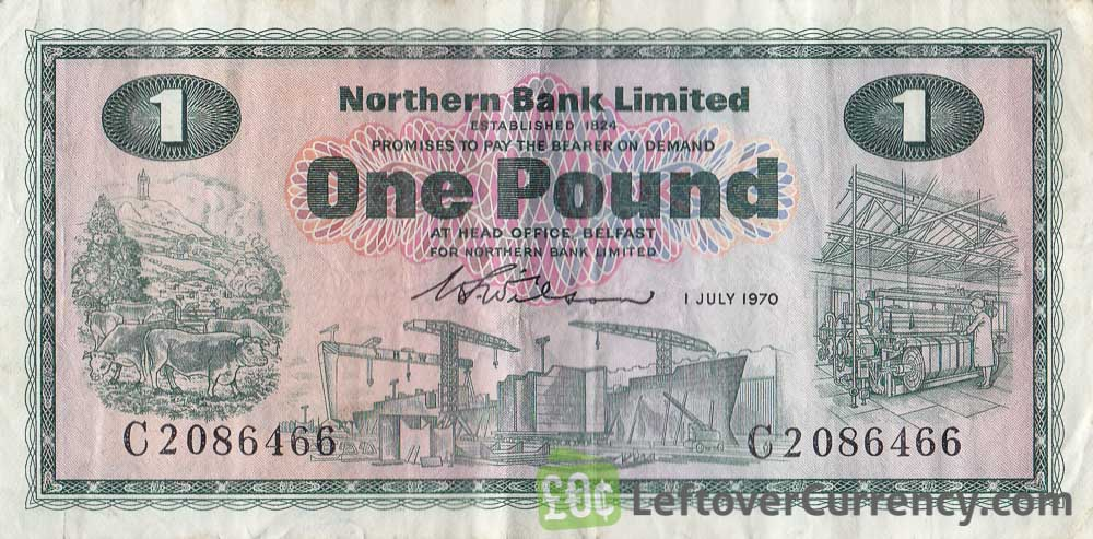Northern Bank 1 Pound banknote - series 1970-1978 obverse accepted for exchange