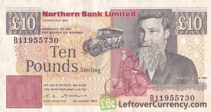 Northern Bank 10 Pounds banknote - series 1988-1996 obverse accepted for exchange