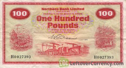 northern bank 100 pounds banknote series 1970-1980 obverse
