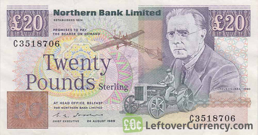 Northern Bank 20 Pounds banknote (series 1988-1996) obverse accepted for exchange