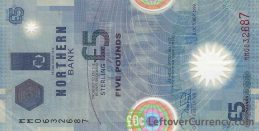 Northern Bank 5 Pounds banknote - Commemorative series 2000 Space Shuttle obverse accepted for exchange