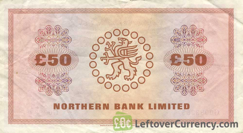 Northern Bank 50 Pounds banknote - series 1970-1981 reverse accepted for exchange