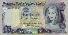 Provincial Bank of Ireland Limited 5 Pounds banknote - Young girl obverse accepted for exchange