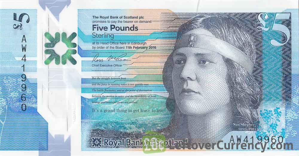 Royal Bank of Scotland 5 Pounds banknote (2015 series) obverse