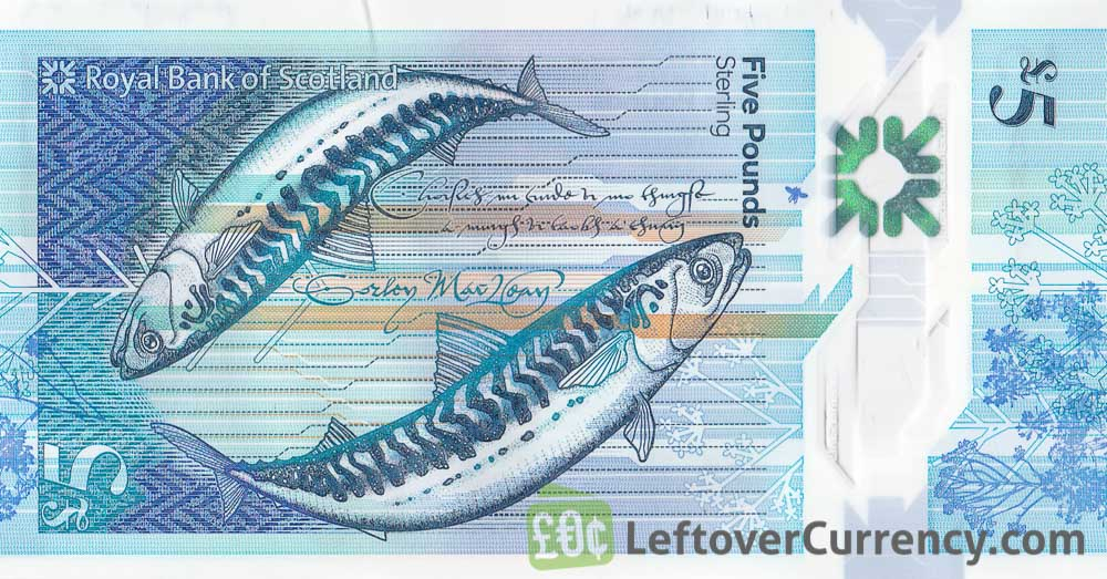 Royal Bank of Scotland 5 Pounds banknote (2015 series) reverse