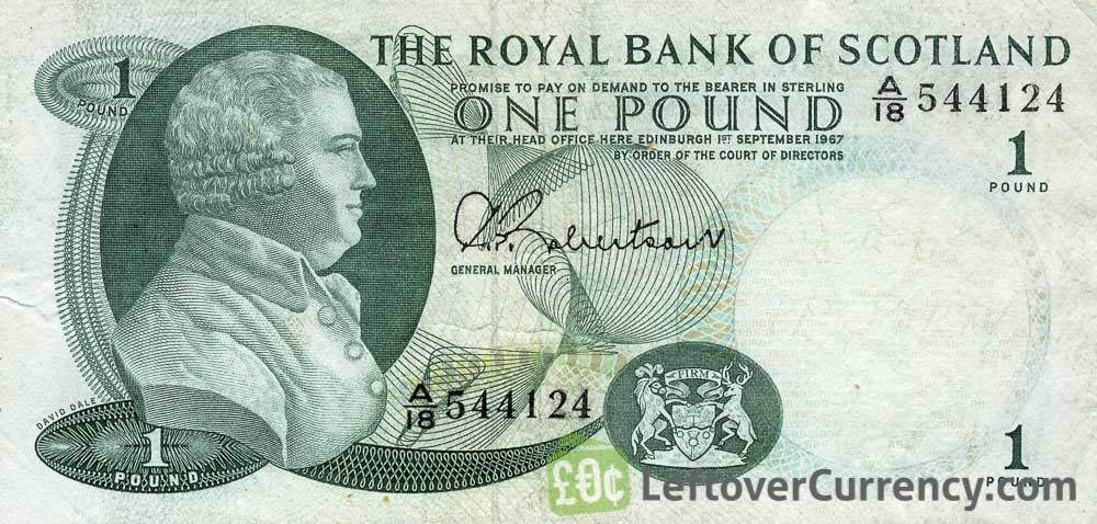 The Royal Bank of Scotland 1 Pound banknote - 1967 series obverse accepted for exchange