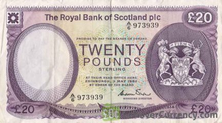 The Royal Bank of Scotland limited 20 Pounds banknote - 1982-1985 series-obverse accepted for exchange