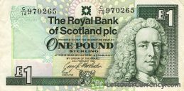 The Royal Bank of Scotland plc 1 Pound banknote obverse accepted for exchange