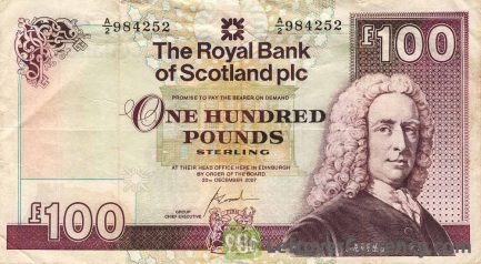 The Royal Bank of Scotland plc 100 Pounds banknote obverse accepted for exchange