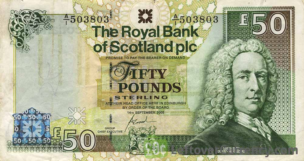 The Royal Bank of Scotland plc 50 Pounds banknote obverse accepted for exchange
