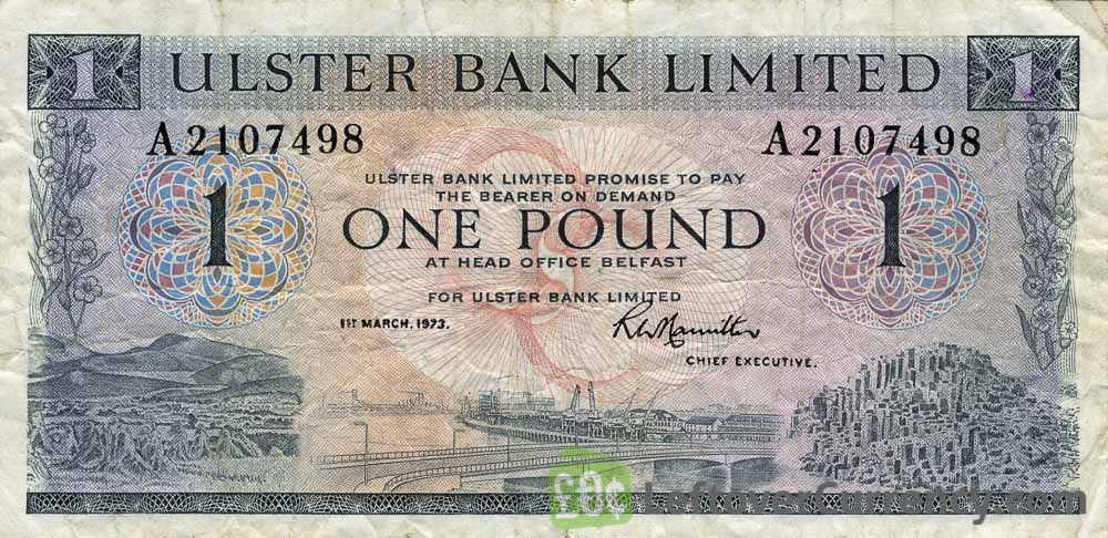 Ulster Bank Limited 1 Pound banknote - series 1966-1976 obverse accepted for exchange