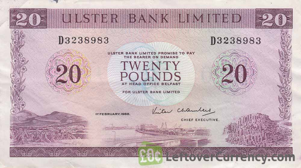Ulster Bank Limited 20 Pounds banknote (series 1970-1988) obverse accepted for exchange