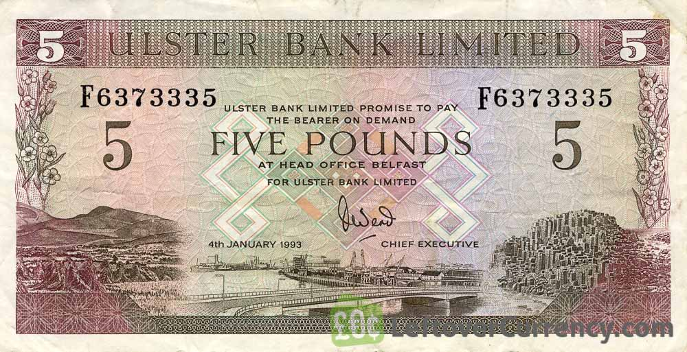 Ulster Bank Limited 5 Pounds banknote - series 1989-2007 obverse accepted for exchange