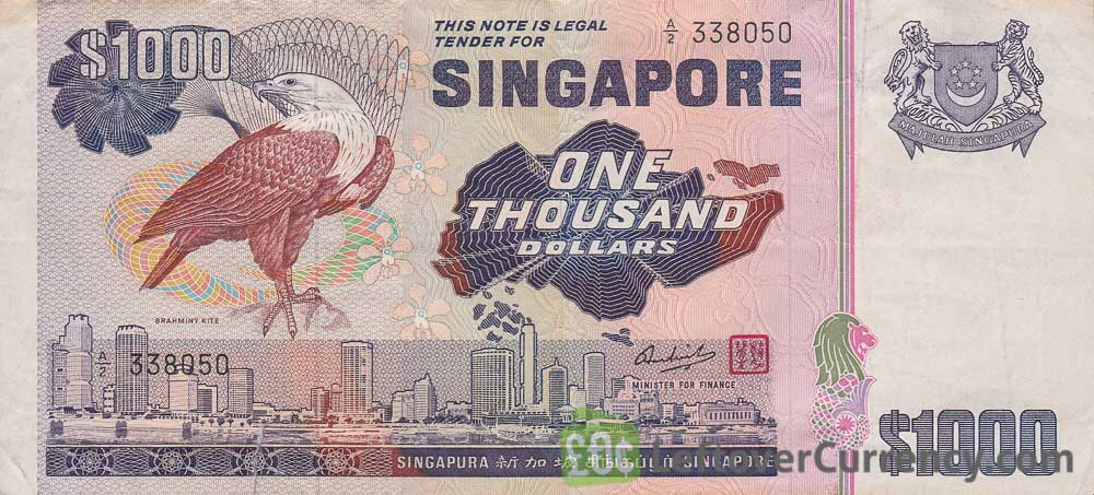 1000 Singapore Dollars banknote obverse accepted for exchange