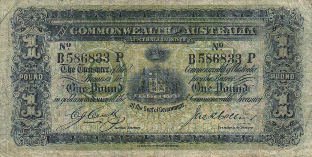 1 Australian Pound banknote - crowned australian arms