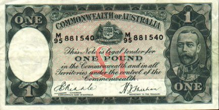 1 Australian Pound banknote - King George V