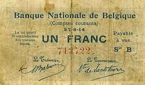1 Belgian Franc banknote - Comptes courants