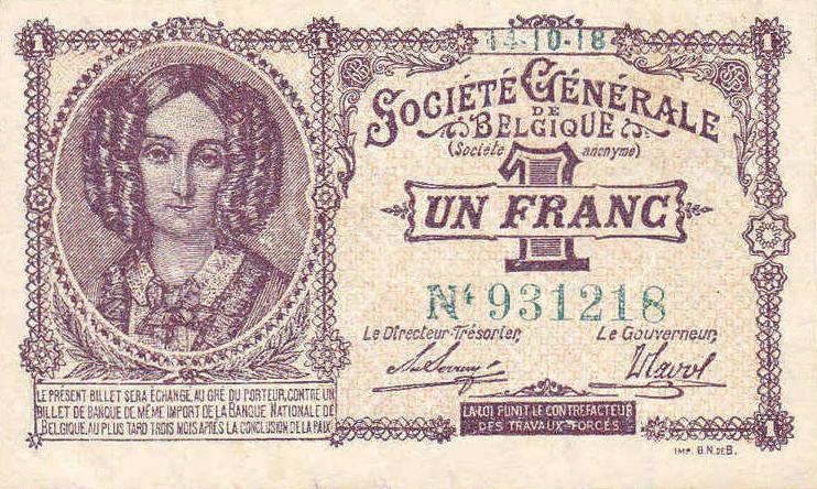 1 Belgian Franc banknote - Societe Generale