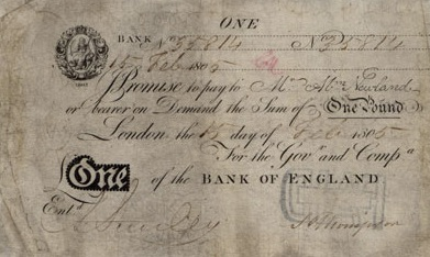 1 British Pound banknote - white note