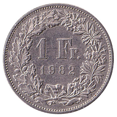 1 Swiss Franc coin obverse accepted for exchange