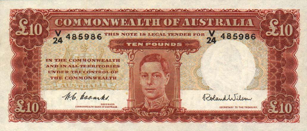 10 Australian Pounds banknote