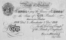 10 British Pounds banknote - white note