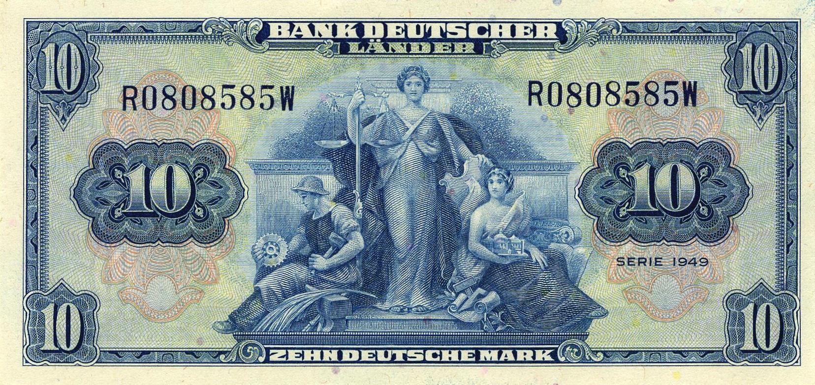 10 Deutsche Marks Bank Deutcher Lander 1949 Exchange Yours