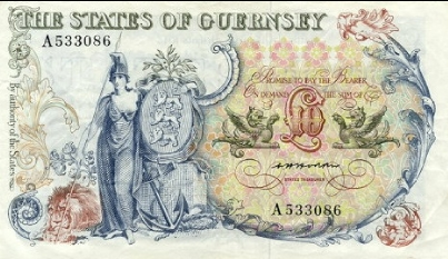 10 Guernsey Pounds banknote - General Sir Isaac Brock (1975)
