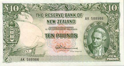 10 New Zealand Pounds banknote - James Cook