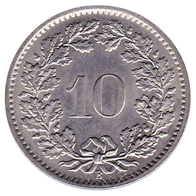 10 Rappen coin Switzerland obverse accepted for exchange