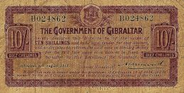 10 Shillings banknote Gibraltar - 1914 Emergency series B
