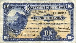 10 Shillings banknote Gibraltar - Rock of Gibraltar series
