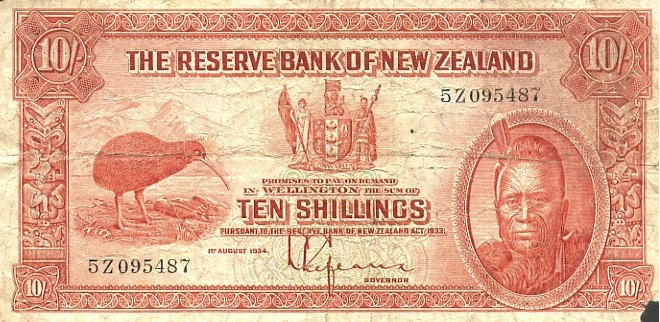 10 Shillings banknote New Zealand - Maori chief