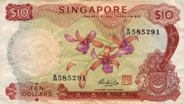 10 Singapore Dollars banknote - Orchids series