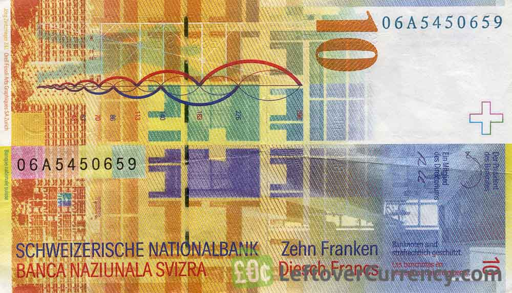 10 Swiss Francs banknote Charles Edourd Jeanneret Gris 8th series reverse accepted for exchange