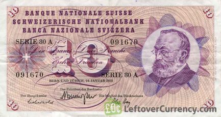 10 Swiss Francs banknote Gottfried Keller 5th series obverse accepted for exchange