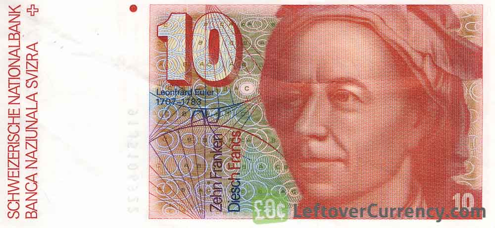 10 Swiss Francs banknote Leonhard Euler 7th series obverse accepted for exchange