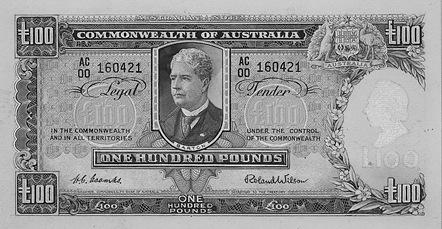 100 Australian Pounds banknote