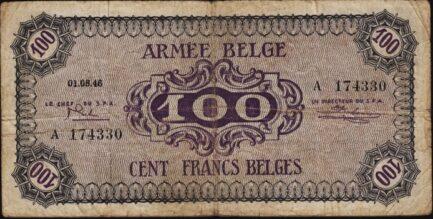 100 Belgian Francs banknote - Armée Belge