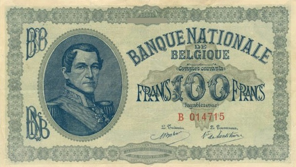 100 Belgian Francs banknote - Comptes courants