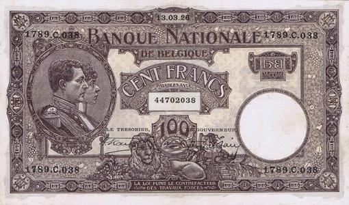 100 Belgian Francs banknote - Série Nationale