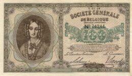 100 Belgian Francs banknote - Societe Generale