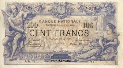 100 Belgian Francs banknote - type 1869 black font