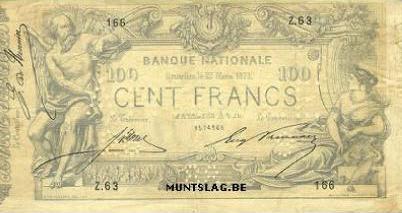 100 Belgian Francs banknote - type 1869