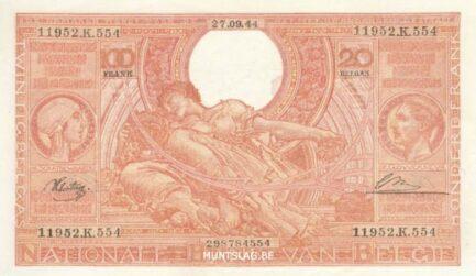 100 Belgian Francs banknote - type Vloors Orange Dutch-French