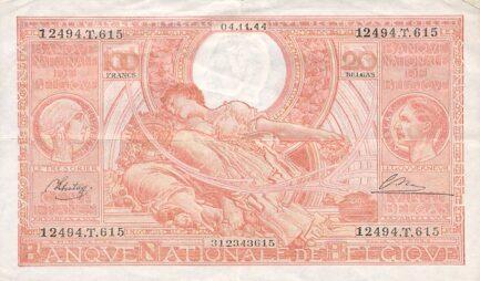 100 Belgian Francs banknote - type Vloors Orange French-Dutch