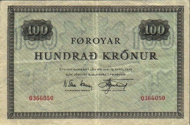 100 Faroese Kronur banknote 1949 green