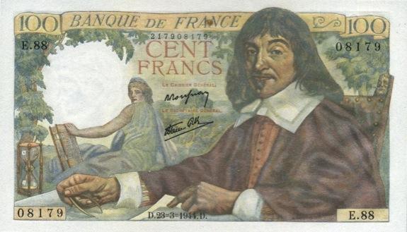 100 French Francs banknote - Rene Descartes